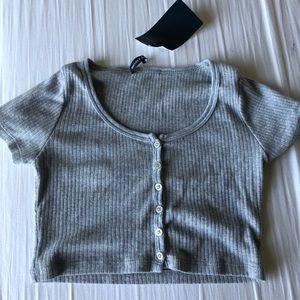 Brandy Melville Gray Button Up Crop Top